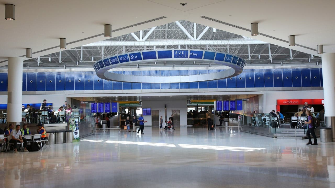 Terminal 5's expansive lobby and Marketplace.