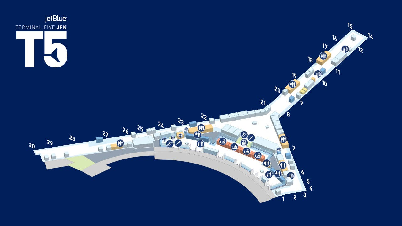 A map of T5 helps navigate the Departures Level and gates.