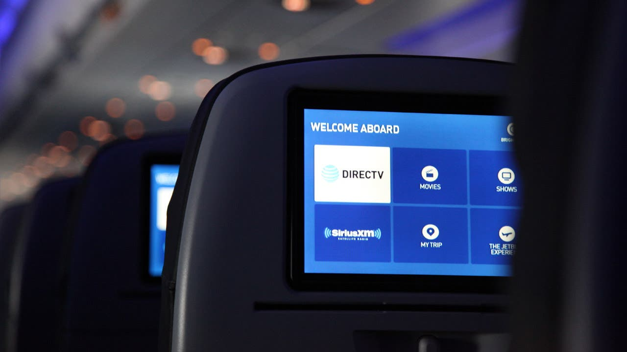 JetBlue seatback tv with DIRECTV screen menu