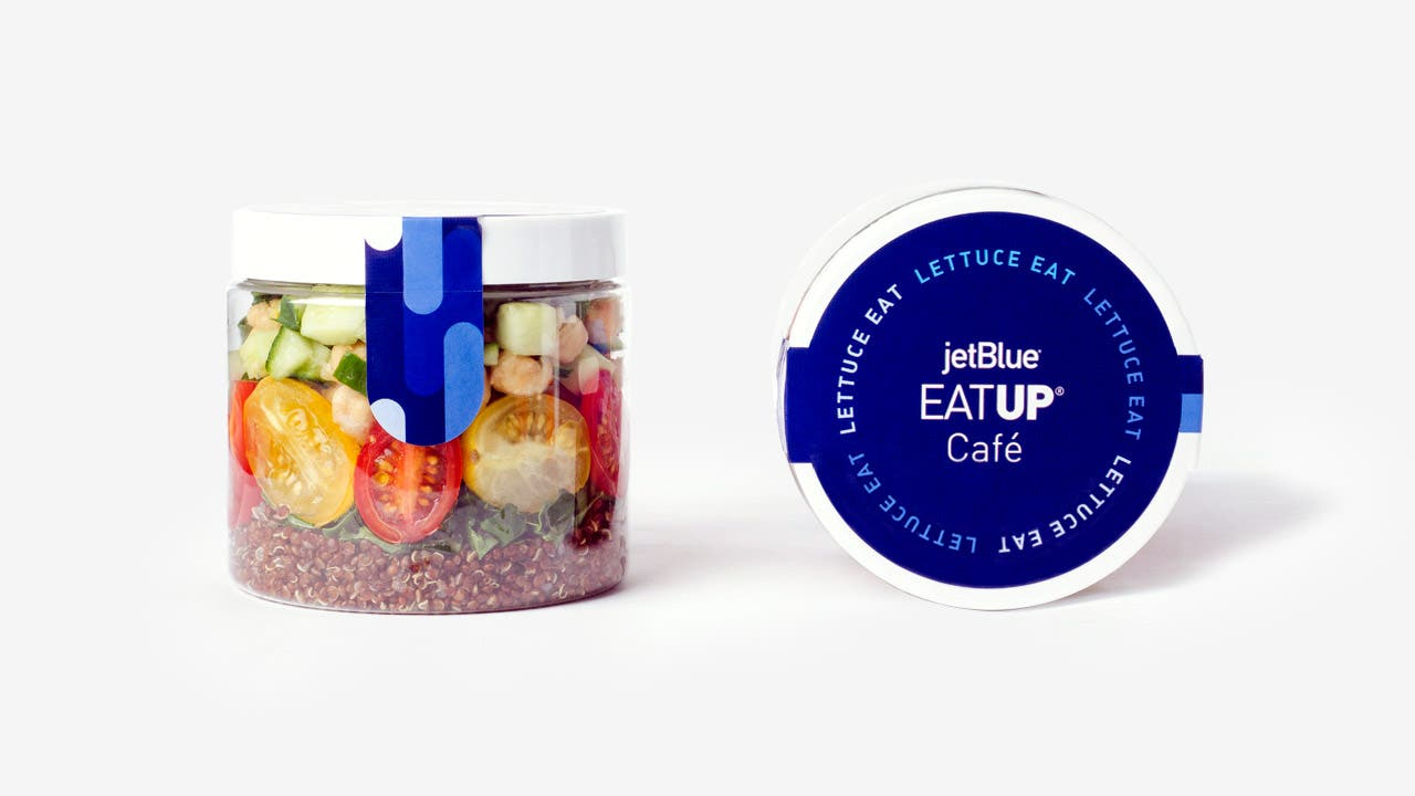 JetBlue lettuce eat EatUp plastic container and lid