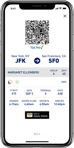 Pase móvil de abordar de JetBlue en iPhone X