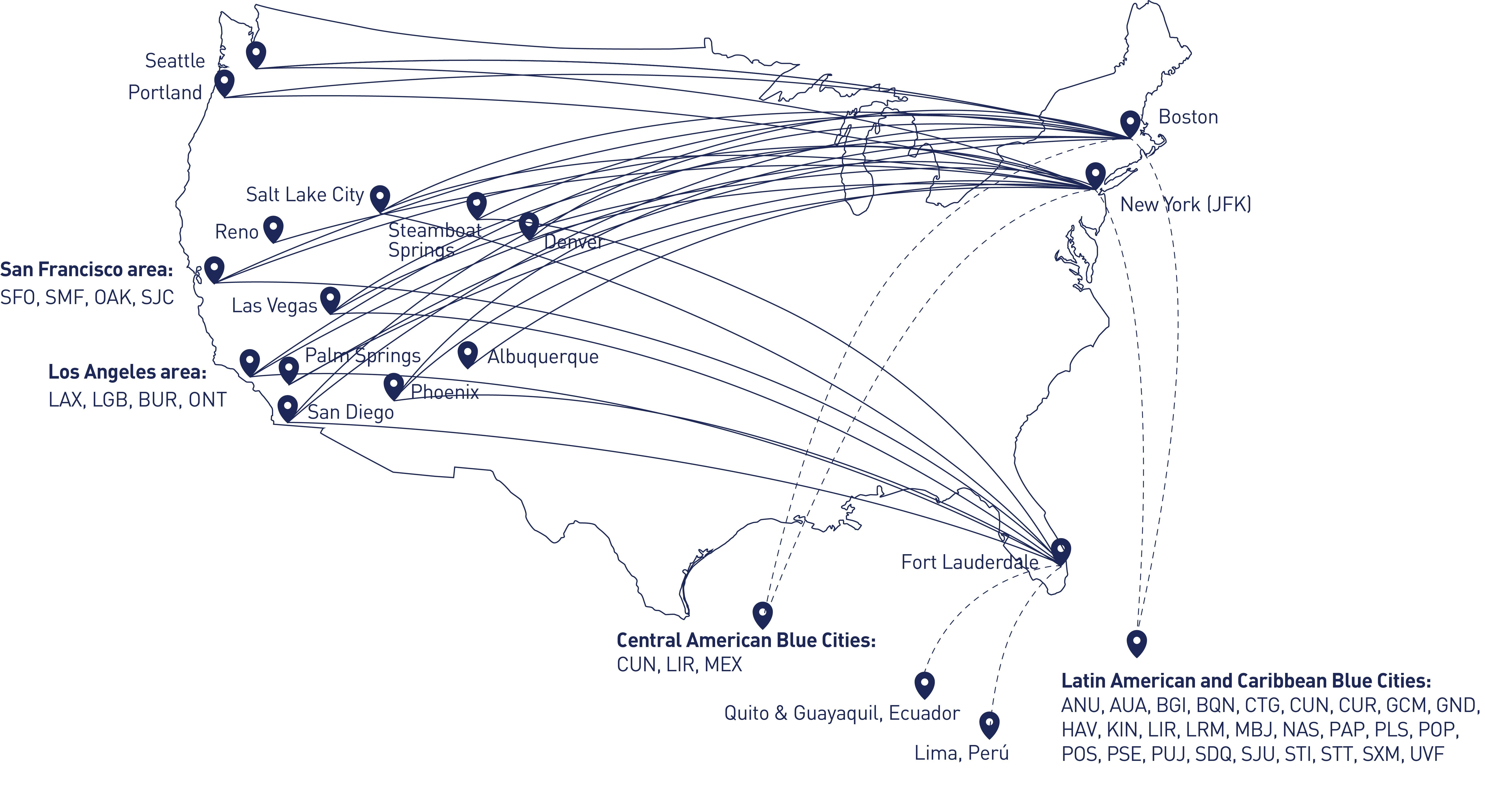 mapa de opciones EatUp Café en vuelos de JetBlue