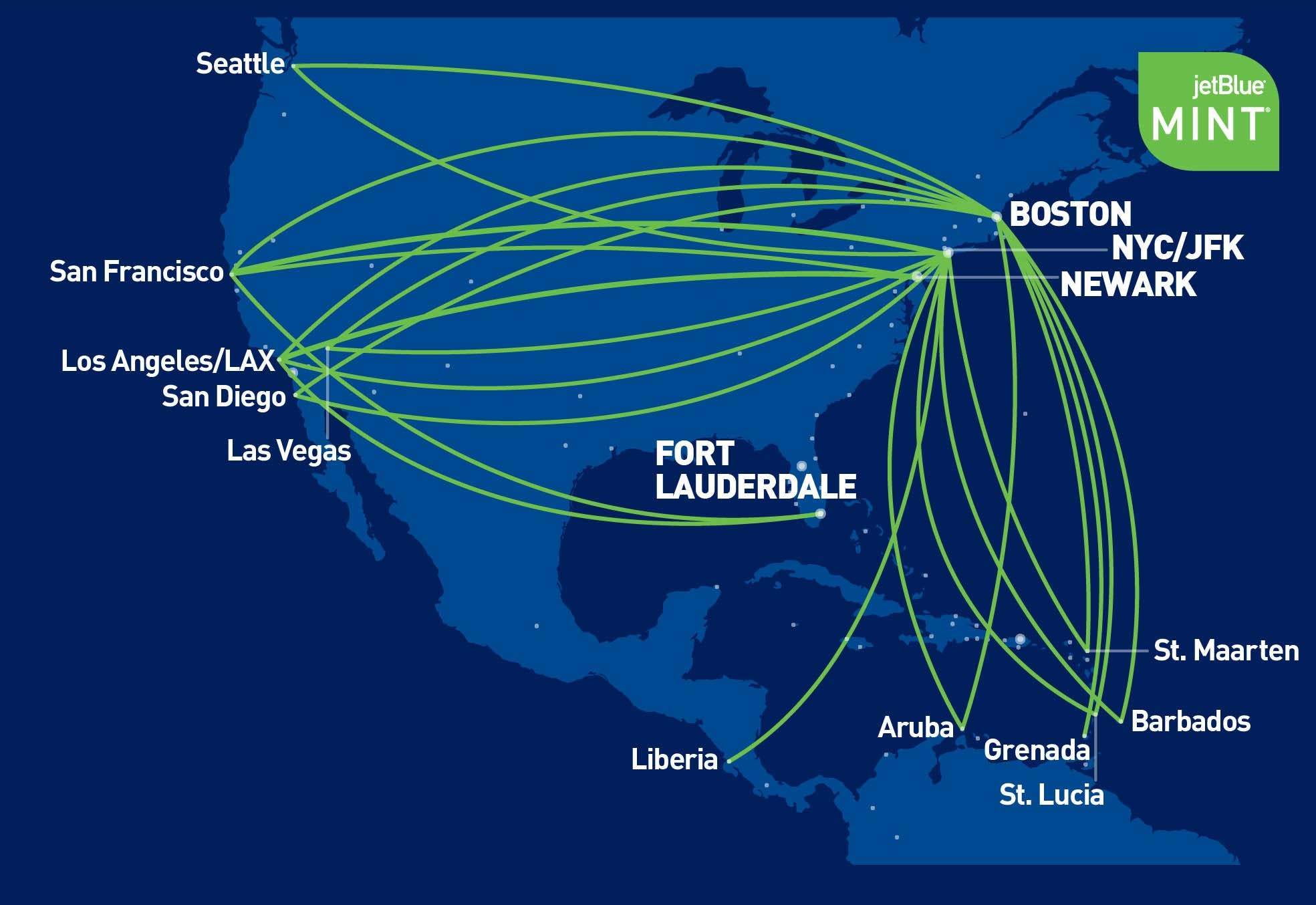 graphic of JetBlue Mint routes