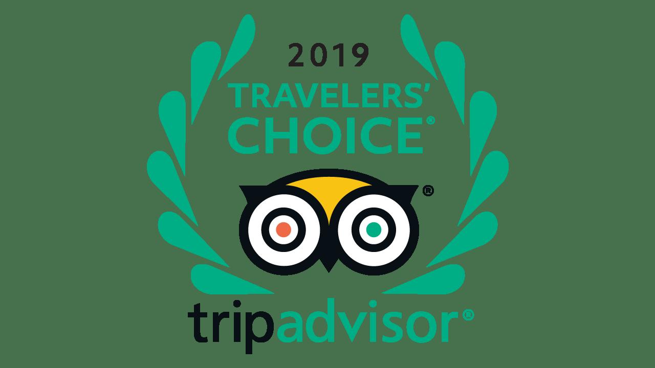 The tripAdvisor, 2019 travelers' choice award.