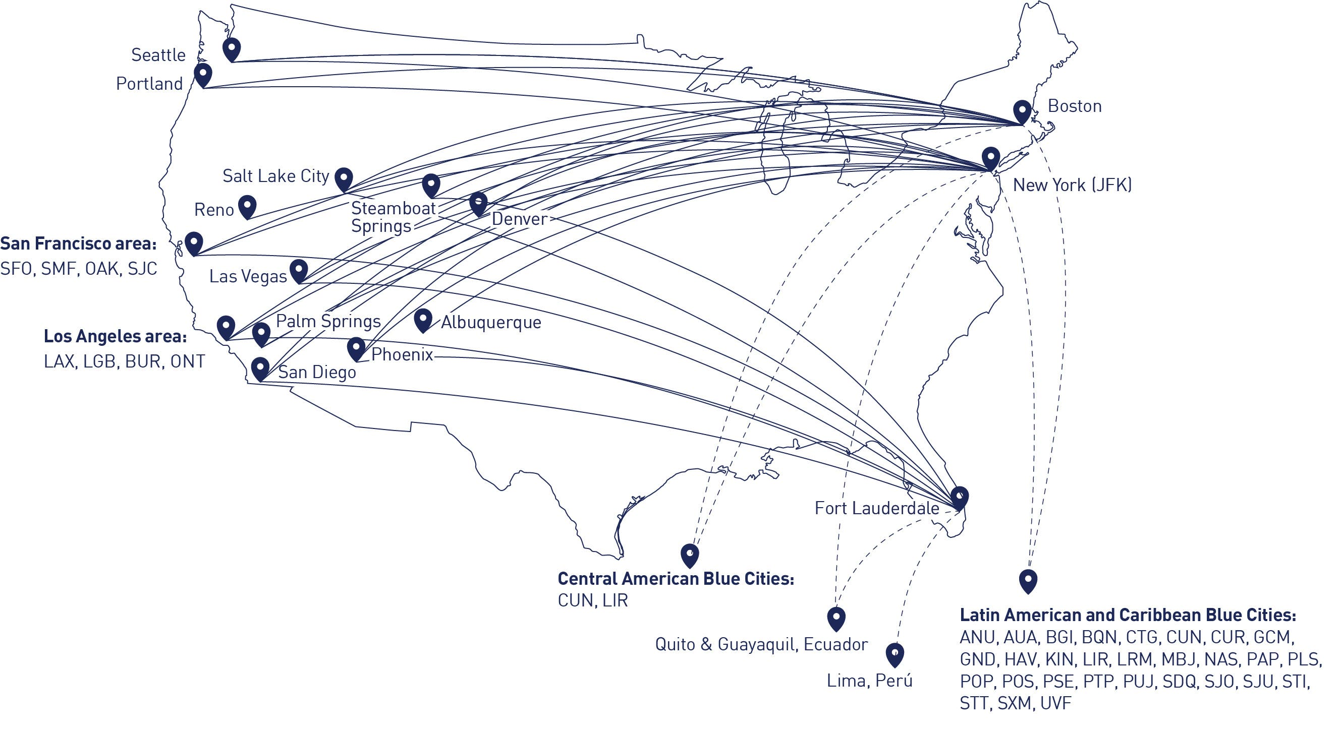 map of EatUp Café offerings on JetBlue flights